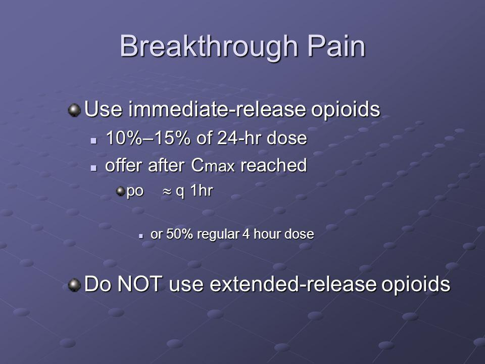 Breakthrough Pain Use immediate-release opioids