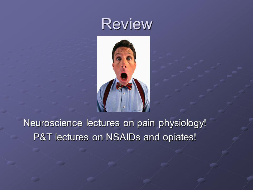 Review Neuroscience lectures on pain physiology!