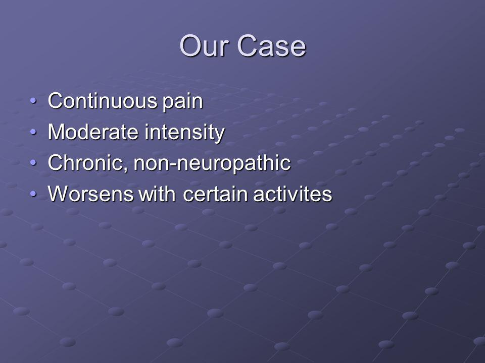 Our Case Continuous pain Moderate intensity Chronic, non-neuropathic
