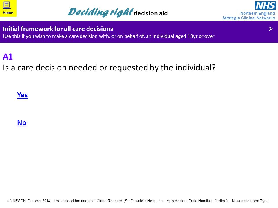 Is a care decision needed or requested by the individual