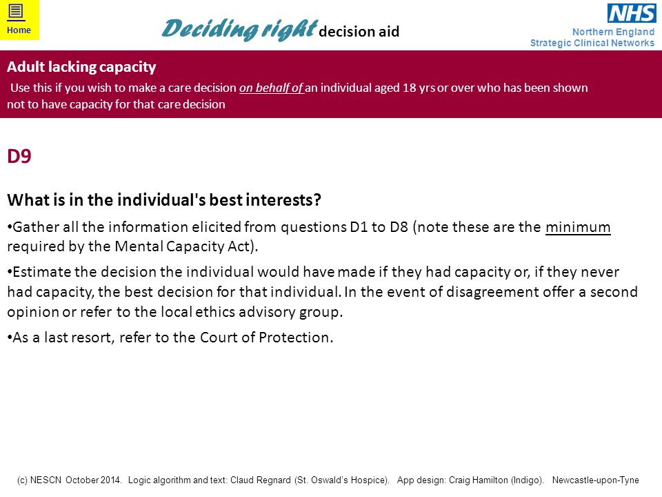 D9 What is in the individual s best interests