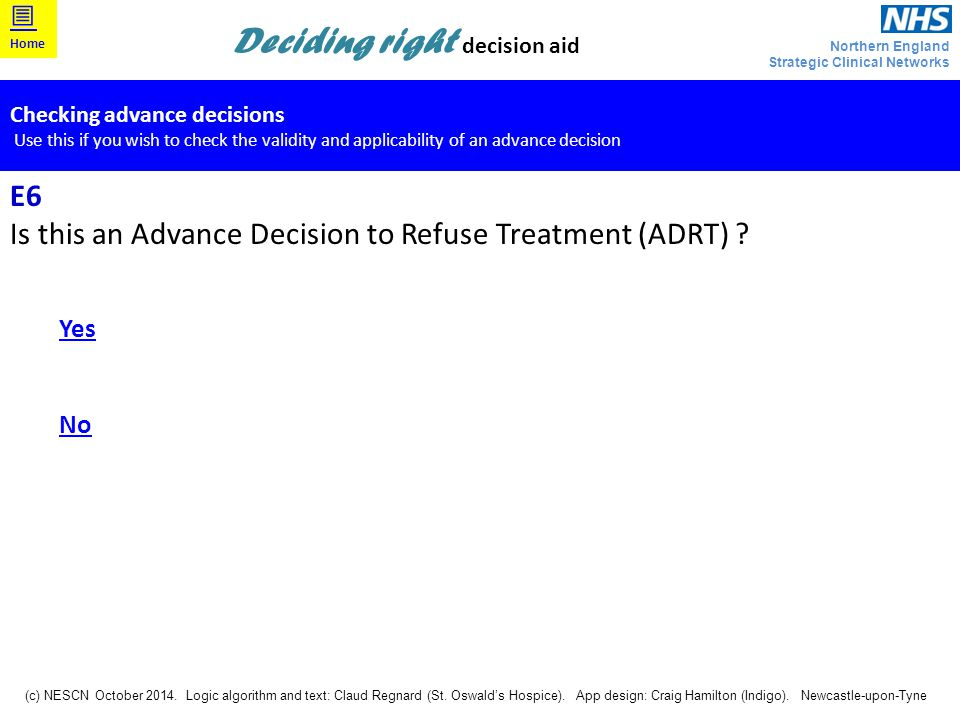 Is this an Advance Decision to Refuse Treatment (ADRT)