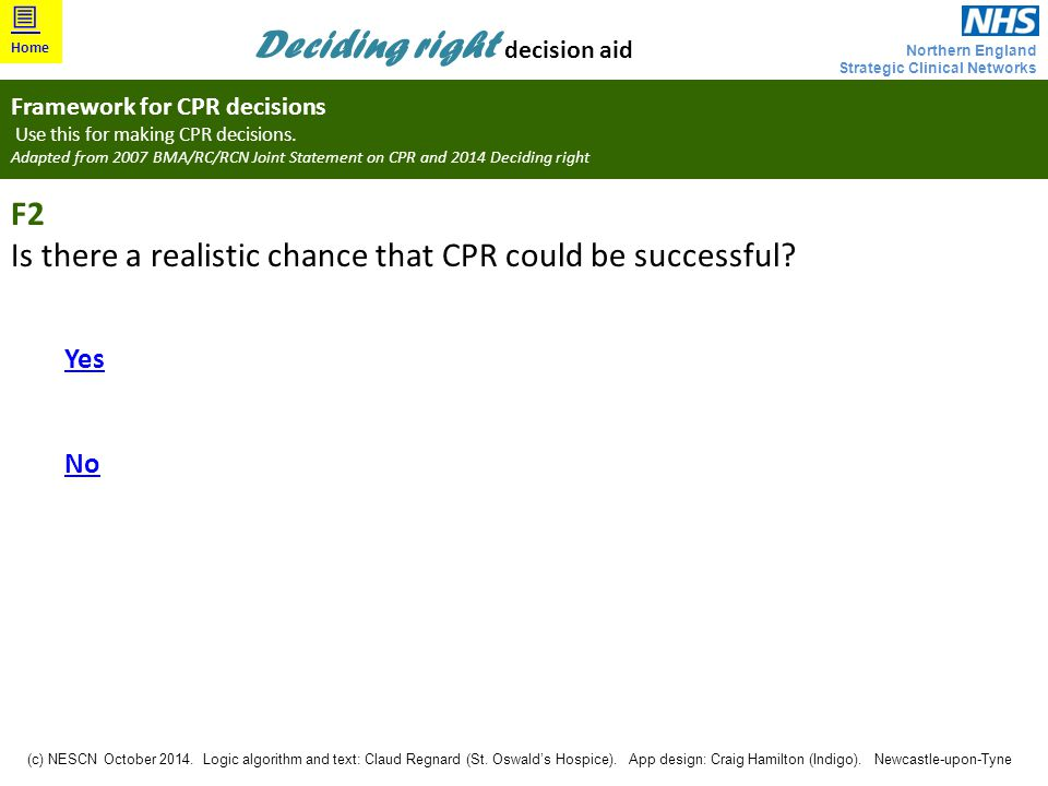 Is there a realistic chance that CPR could be successful