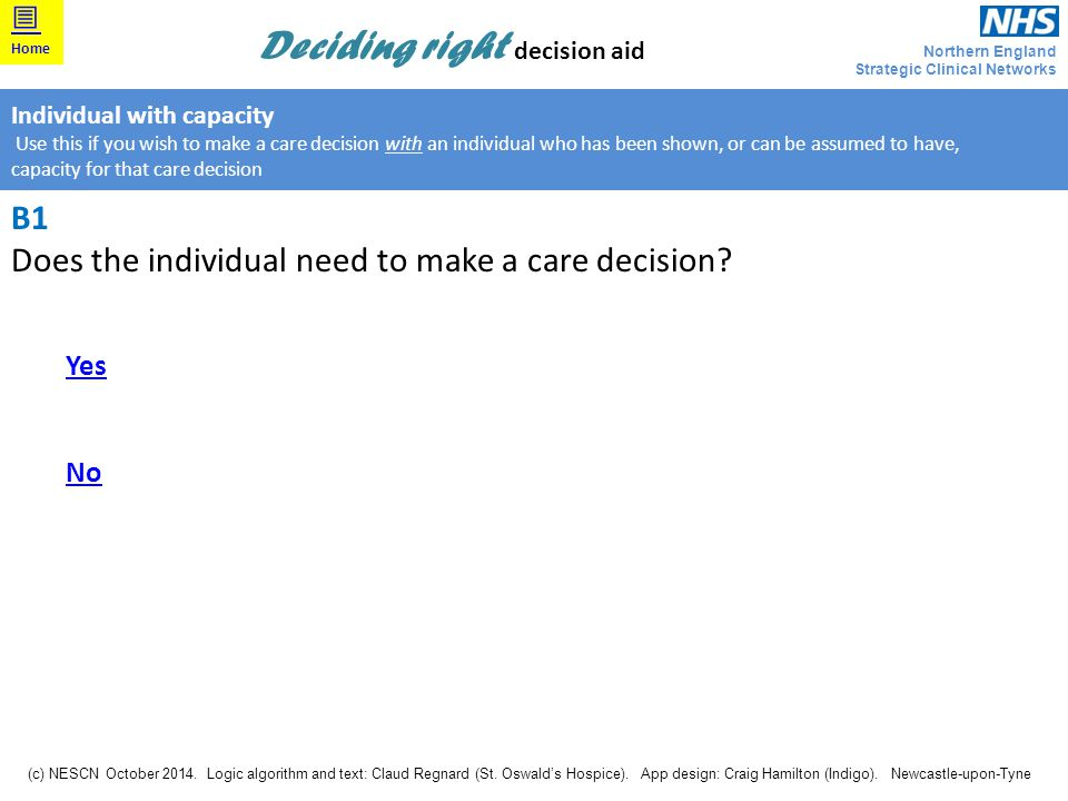 Does the individual need to make a care decision