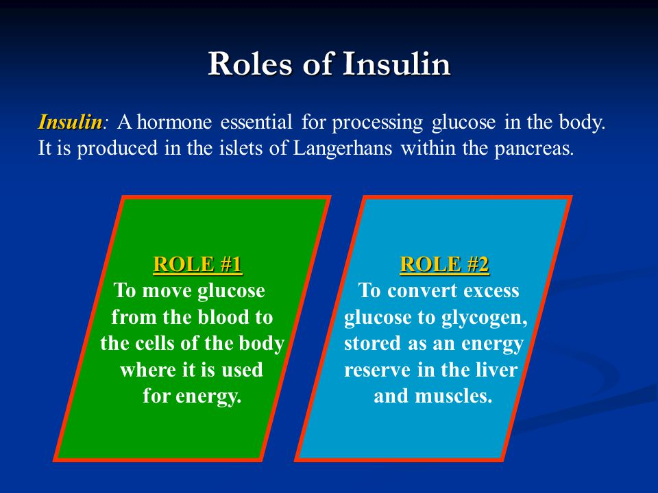 Roles of Insulin Insulin: A hormone essential for processing glucose in the body. It is produced in the islets of Langerhans within the pancreas.