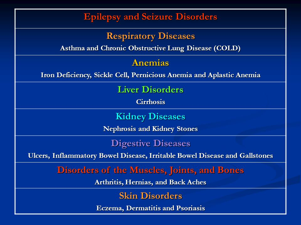 Epilepsy and Seizure Disorders Respiratory Diseases Anemias
