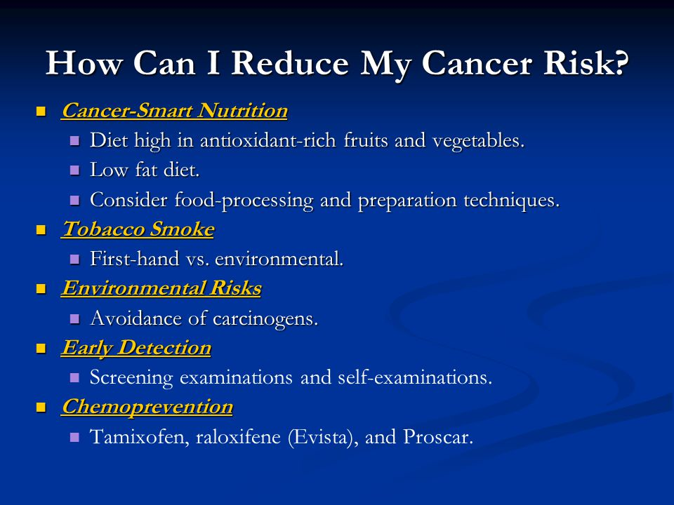 How Can I Reduce My Cancer Risk