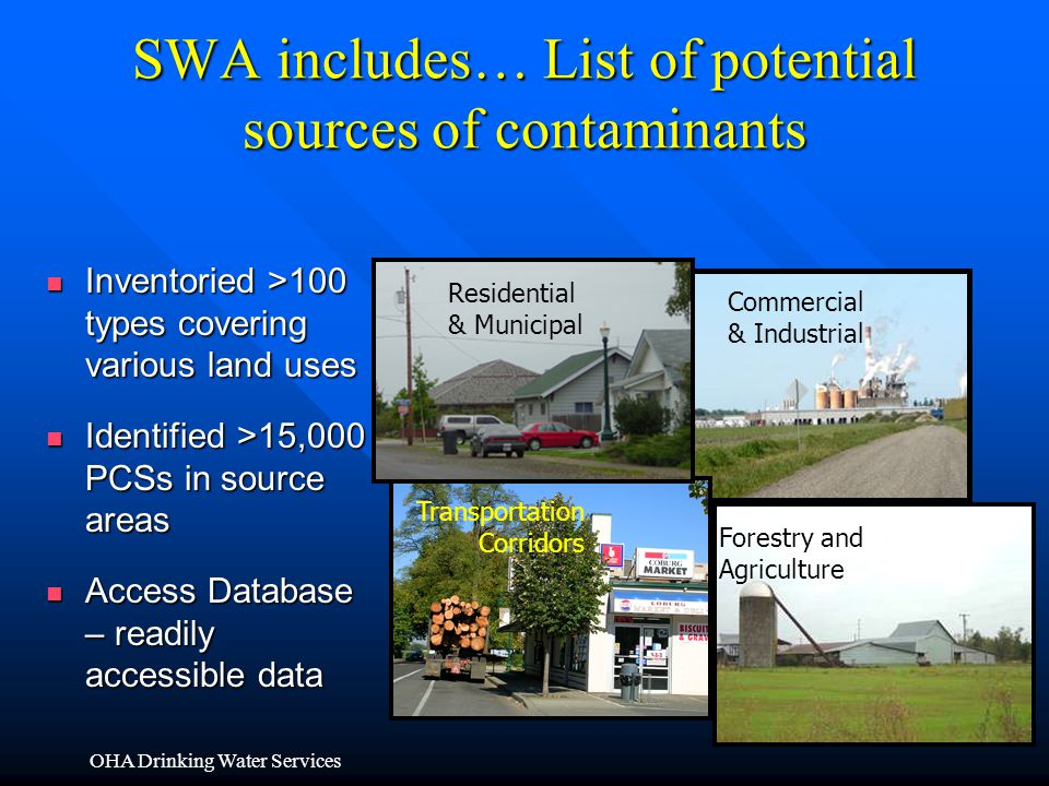 SWA includes… List of potential sources of contaminants