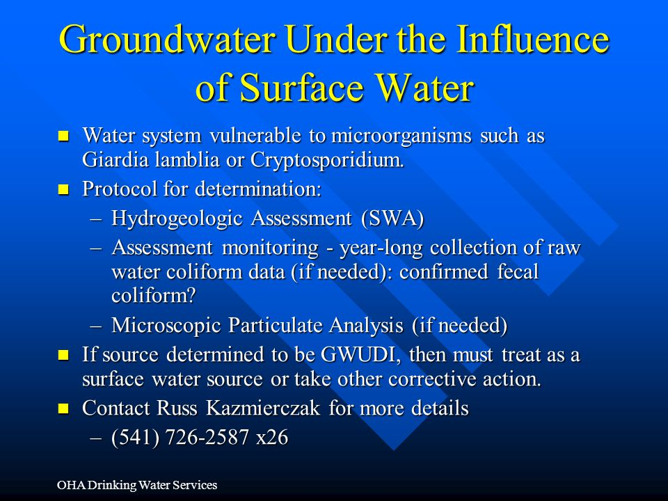 Groundwater Under the Influence of Surface Water