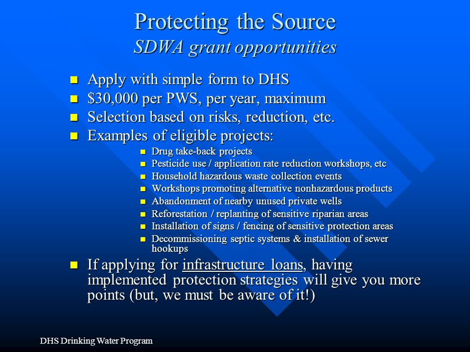 Protecting the Source SDWA grant opportunities