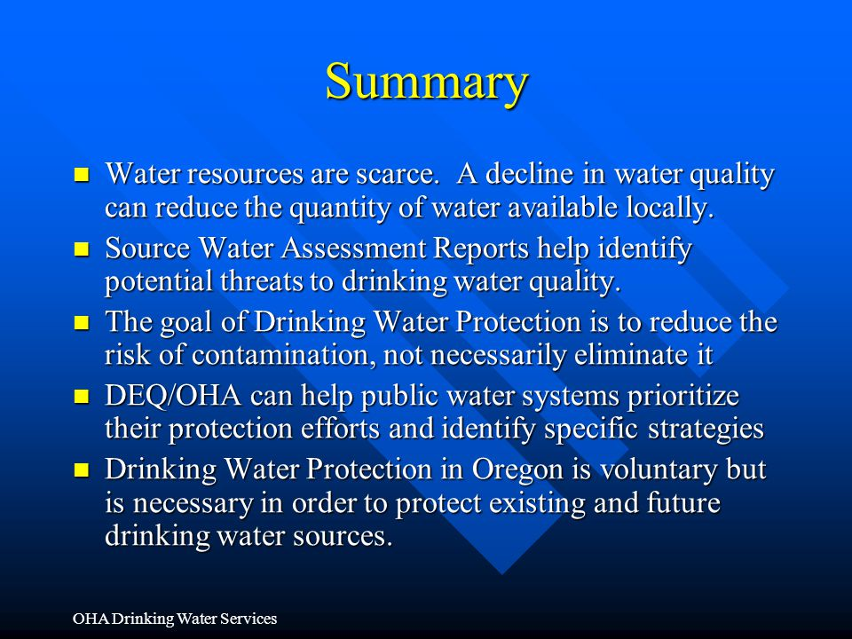 Summary Water resources are scarce. A decline in water quality can reduce the quantity of water available locally.