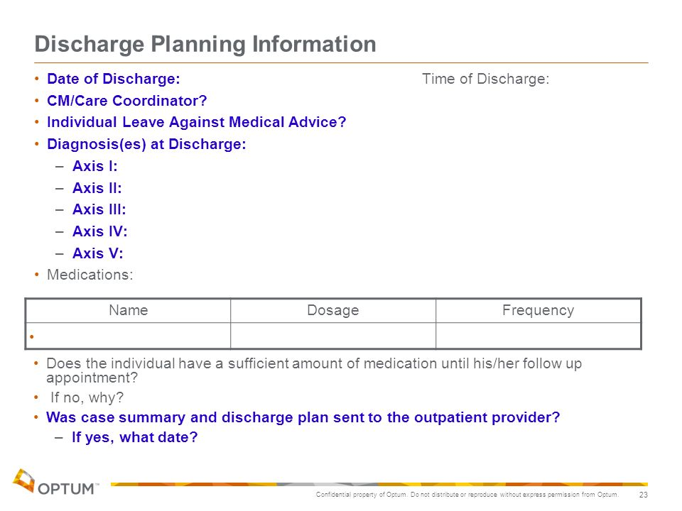 Discharge Planning Information