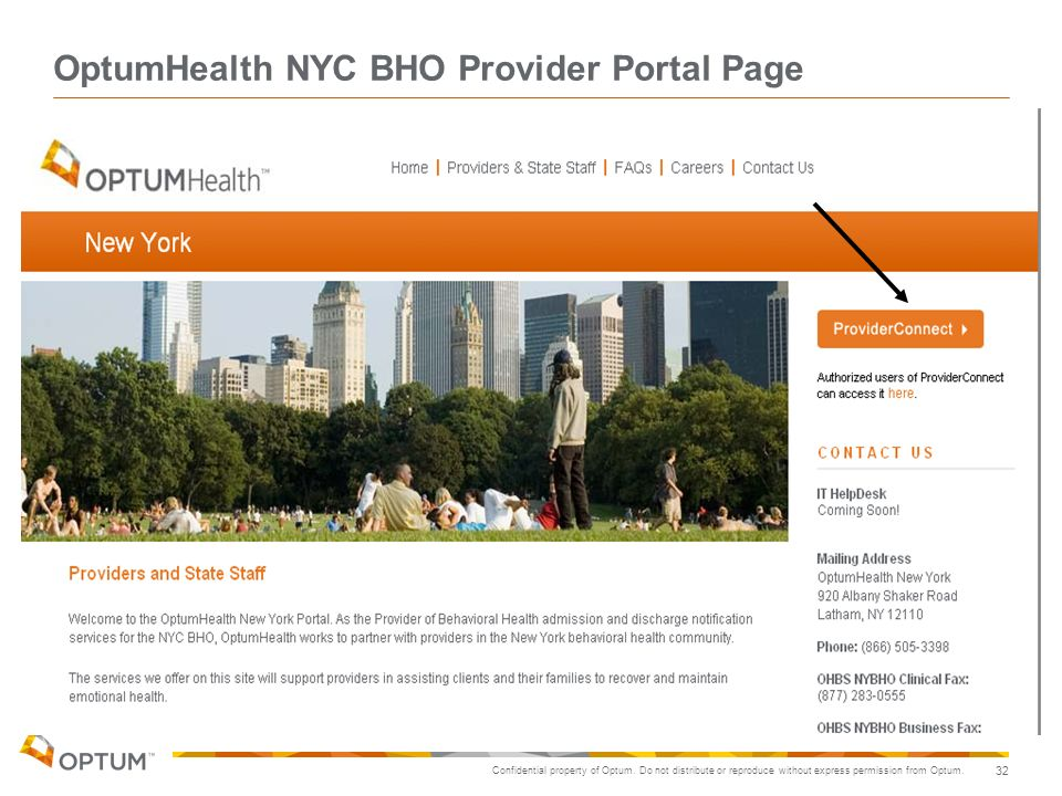 OptumHealth NYC BHO Provider Portal Page
