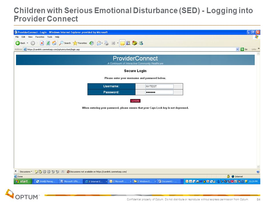Children with Serious Emotional Disturbance (SED) - Logging into Provider Connect