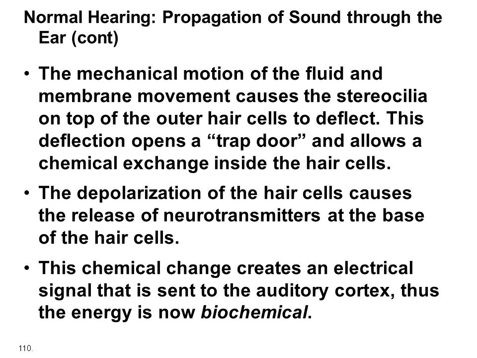 Normal Hearing: Propagation of Sound through the Ear (cont)