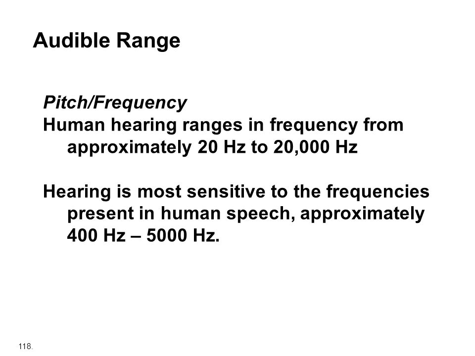 Audible Range Pitch/Frequency