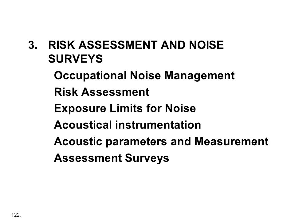 3. RISK ASSESSMENT AND NOISE SURVEYS