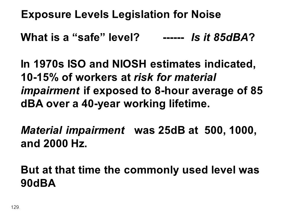 Exposure Levels Legislation for Noise