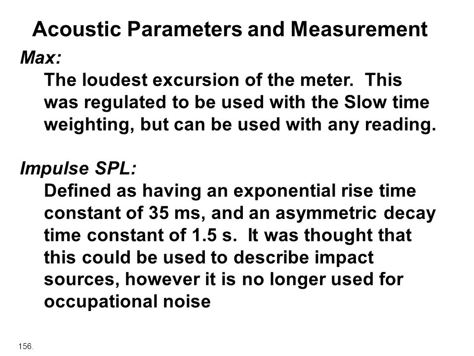 Acoustic Parameters and Measurement