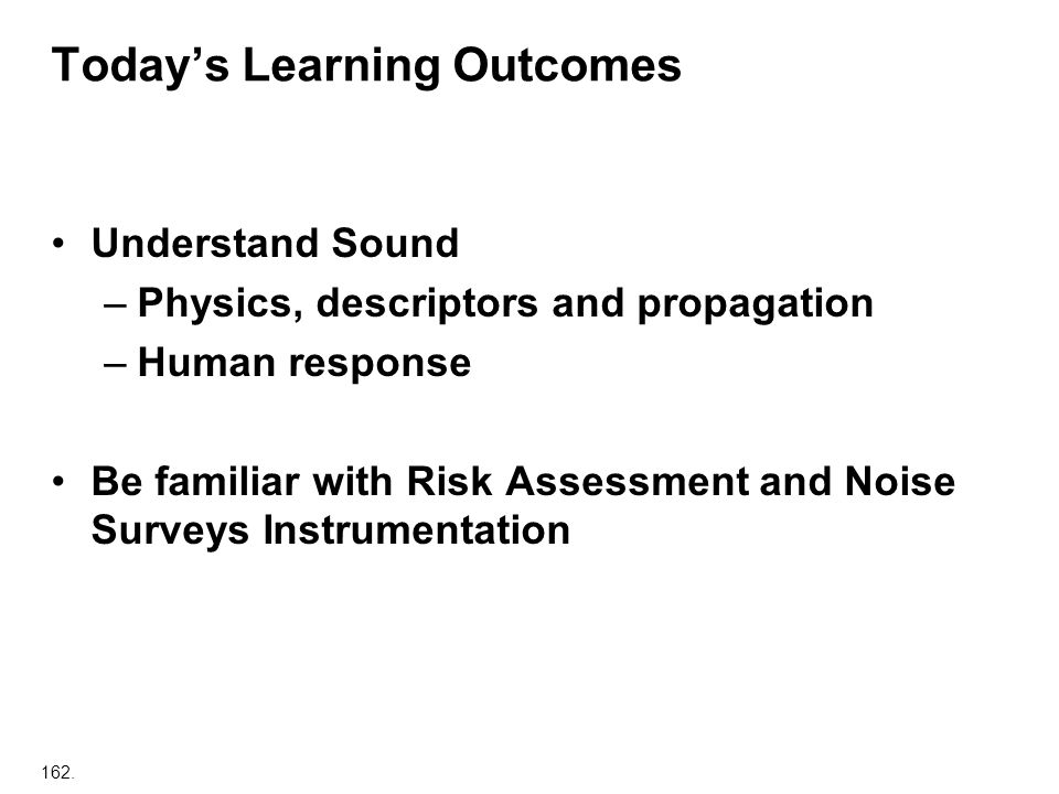 Today's Learning Outcomes
