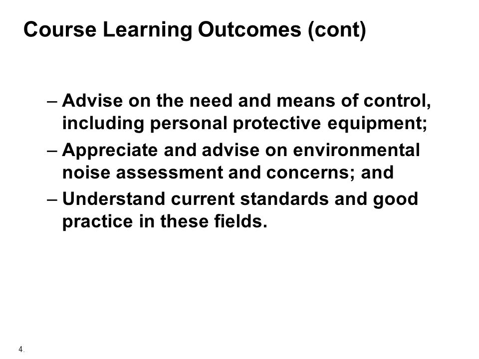 Course Learning Outcomes (cont)