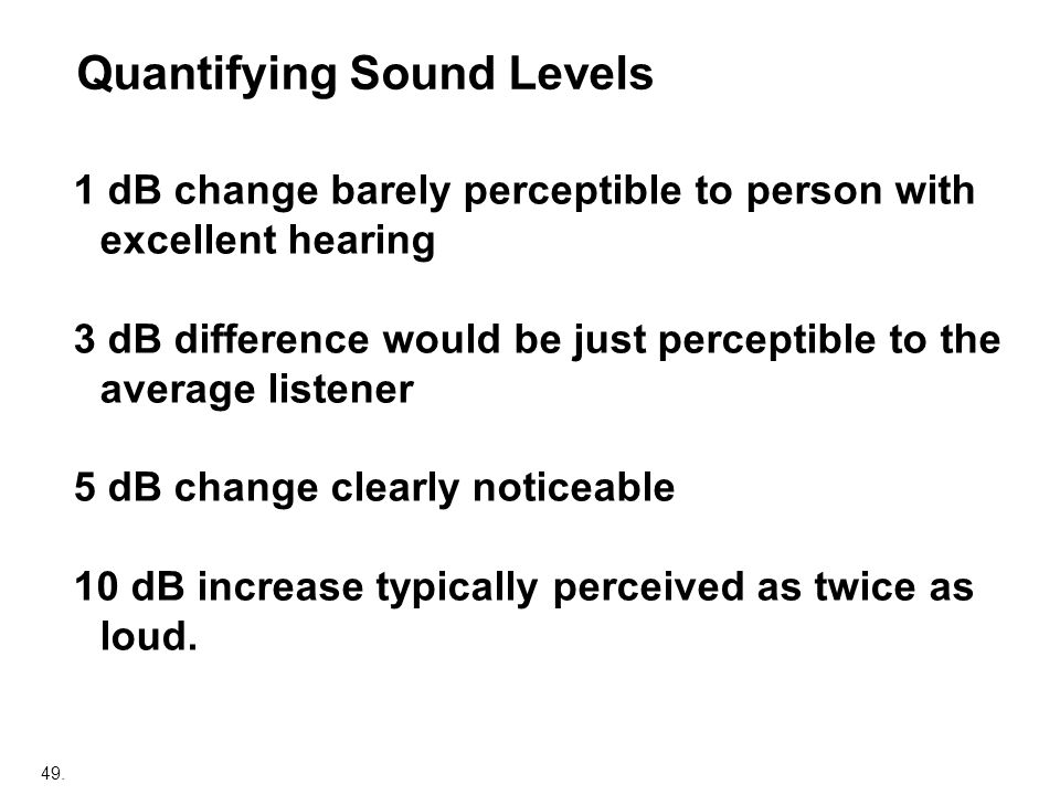 Quantifying Sound Levels