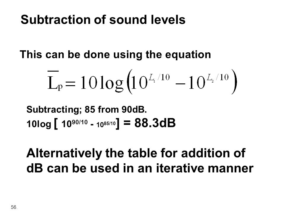 Subtraction of sound levels