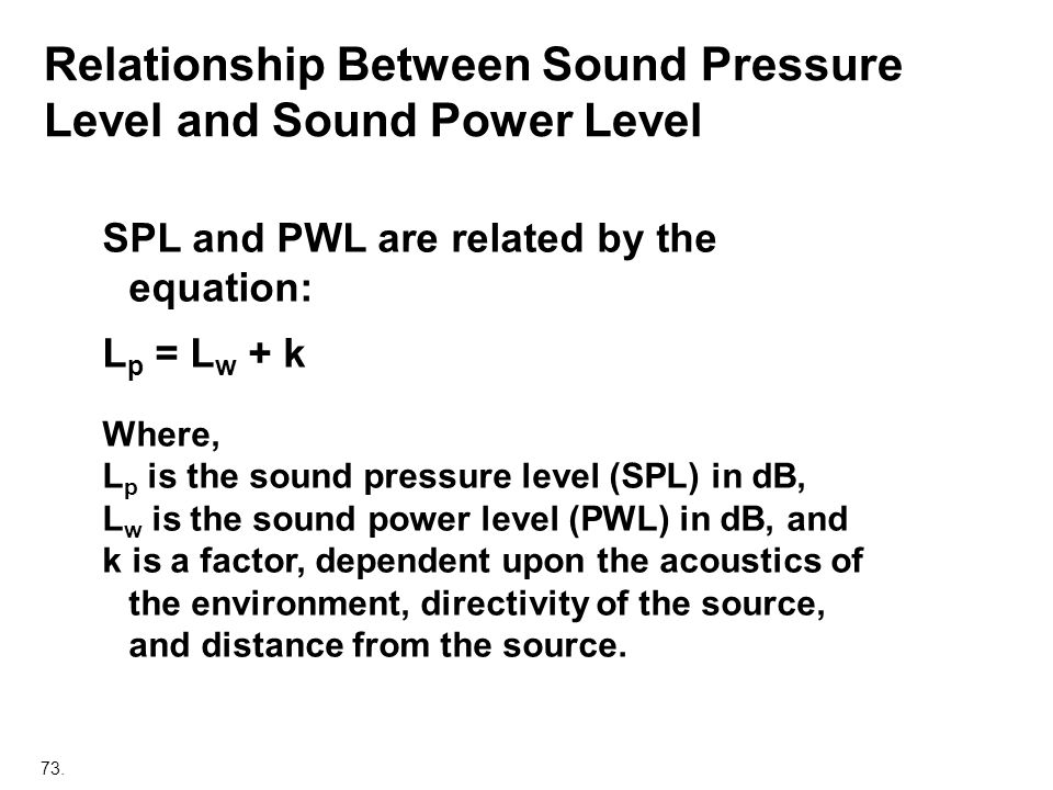 Relationship Between Sound Pressure Level and Sound Power Level