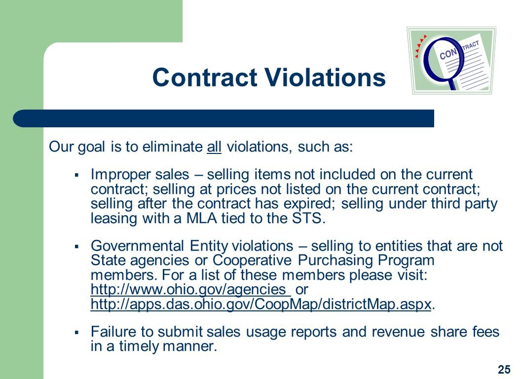 Contract Violations Our goal is to eliminate all violations, such as: