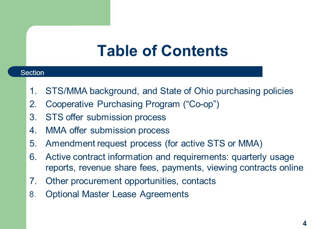 Table of Contents Section. STS/MMA background, and State of Ohio purchasing policies. Cooperative Purchasing Program ( Co-op )