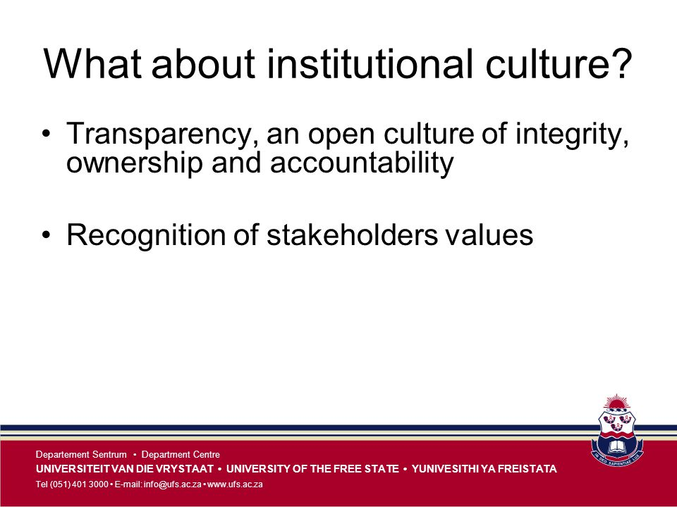 What about institutional culture