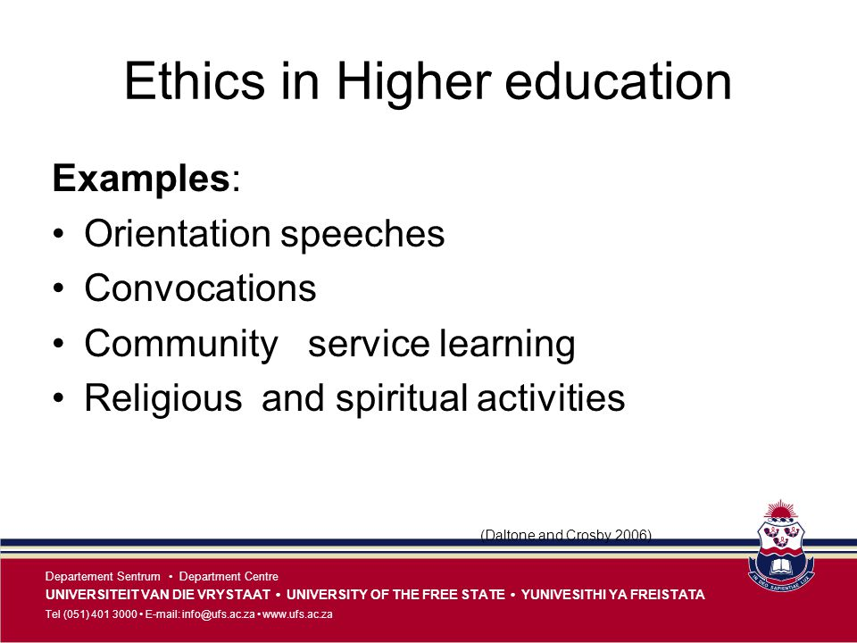 Ethics in Higher education