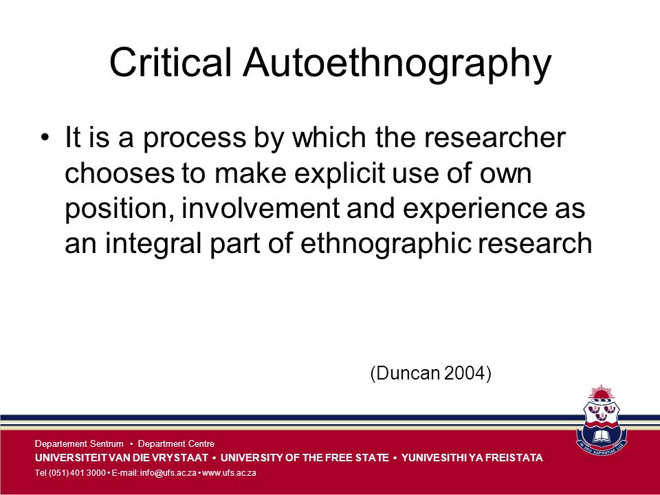 Critical Autoethnography