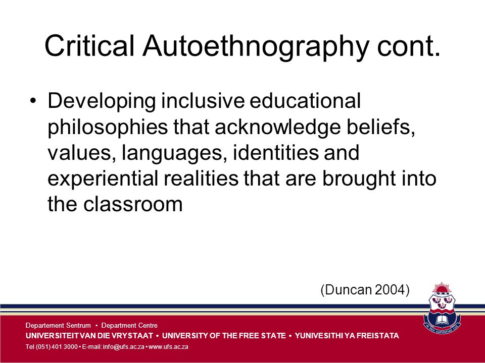 Critical Autoethnography cont.