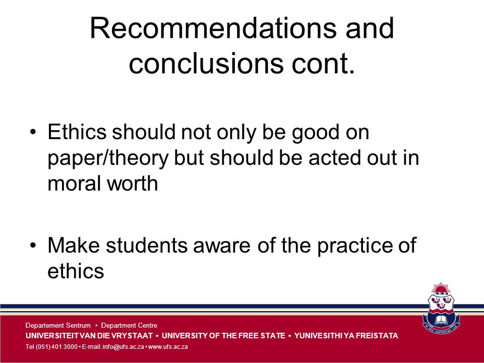 Recommendations and conclusions cont.