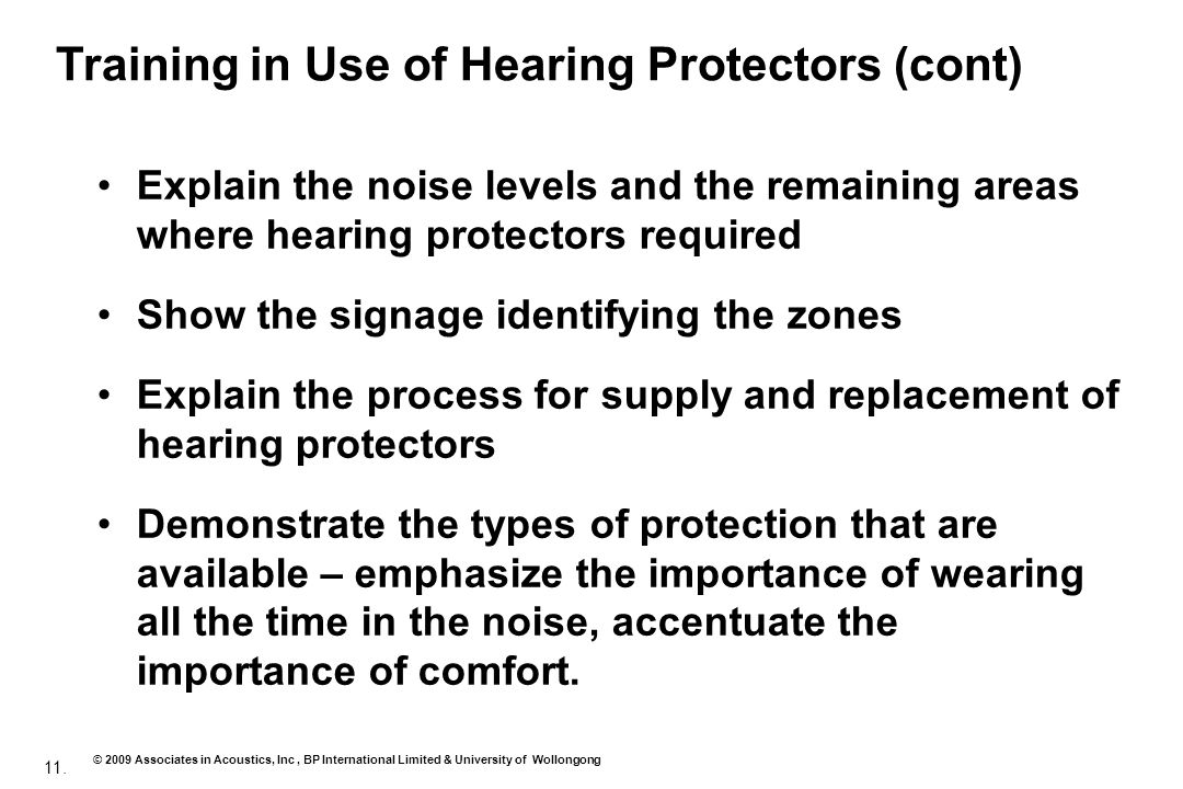 Training in Use of Hearing Protectors (cont)