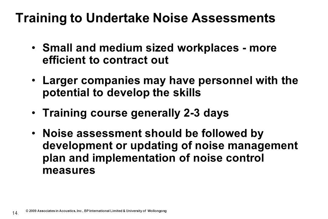 Training to Undertake Noise Assessments
