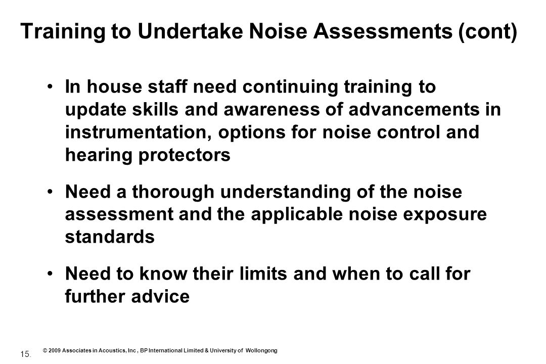 Training to Undertake Noise Assessments (cont)