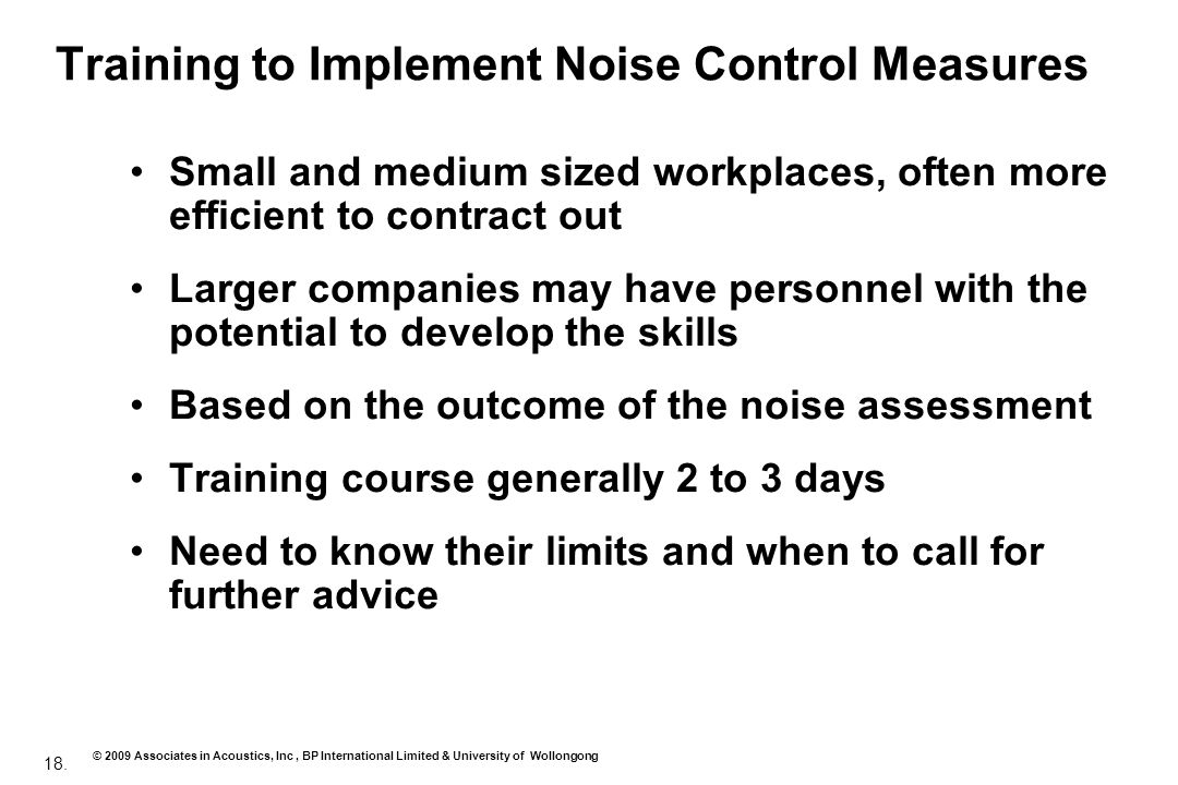 Training to Implement Noise Control Measures