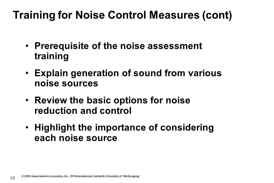 Training for Noise Control Measures (cont)