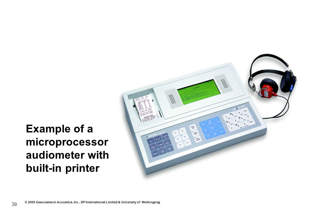 Example of a microprocessor audiometer with built‑in printer