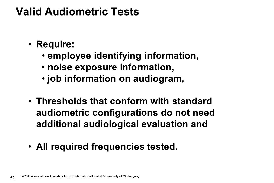 Valid Audiometric Tests