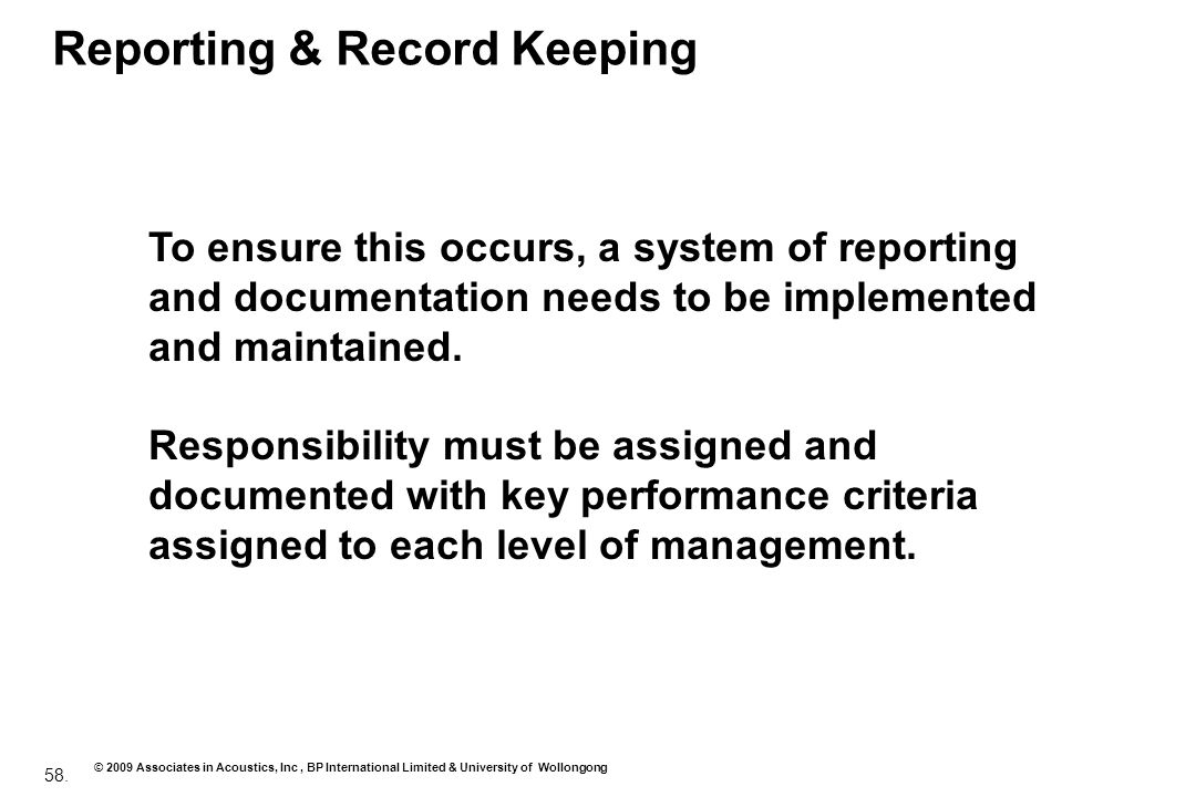Reporting & Record Keeping