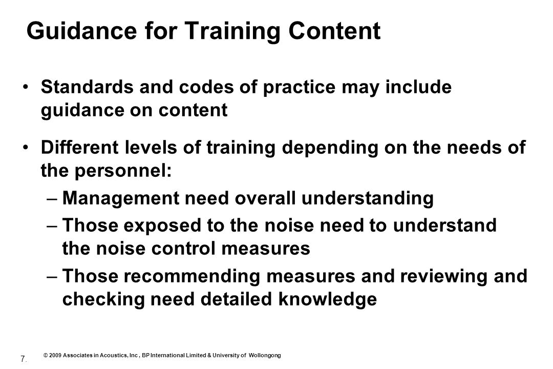 Guidance for Training Content