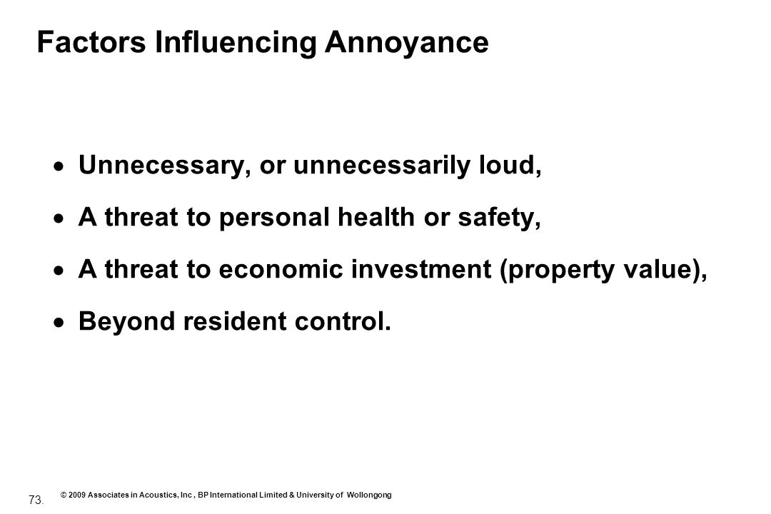 Factors Influencing Annoyance