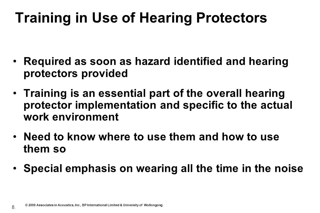 Training in Use of Hearing Protectors