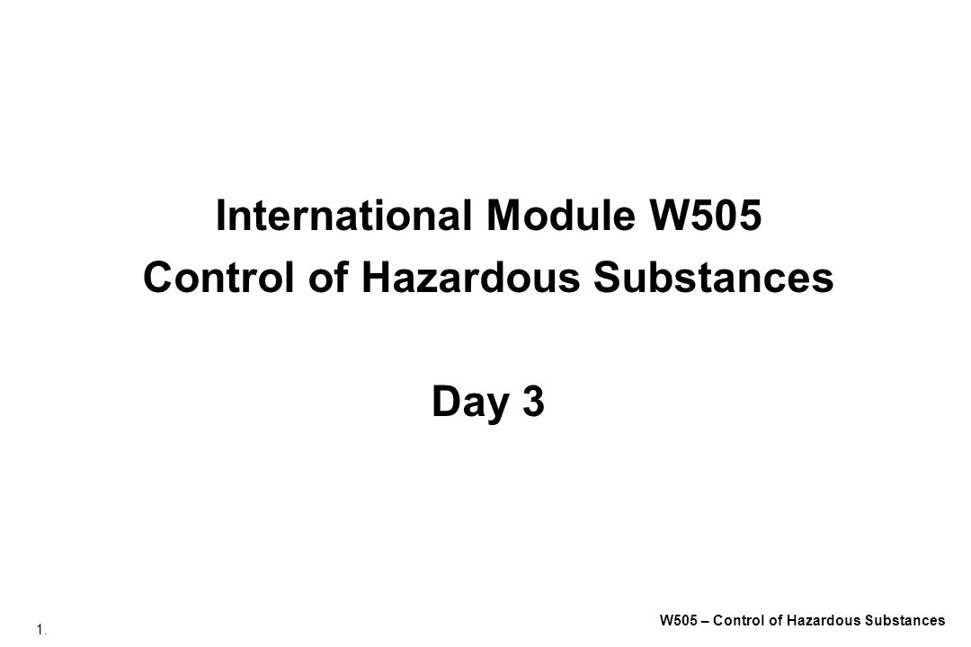 International Module W505 Control of Hazardous Substances