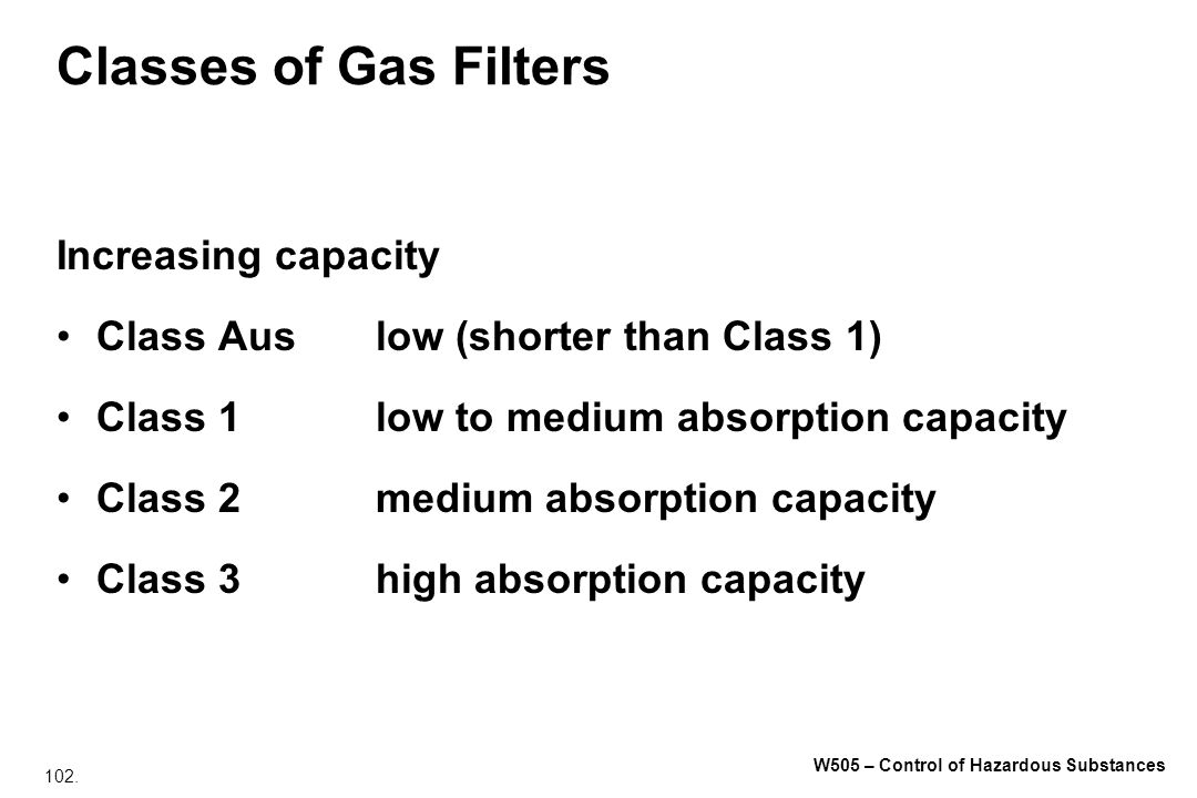 Classes of Gas Filters Increasing capacity