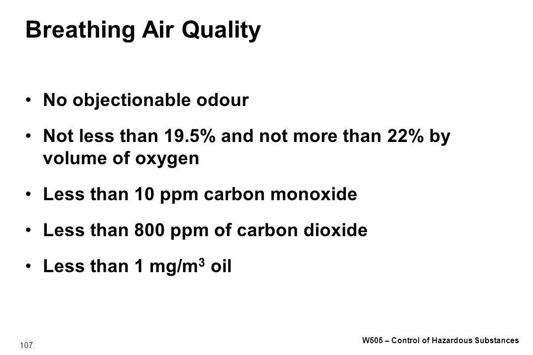 Breathing Air Quality No objectionable odour