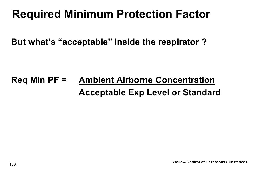 Required Minimum Protection Factor